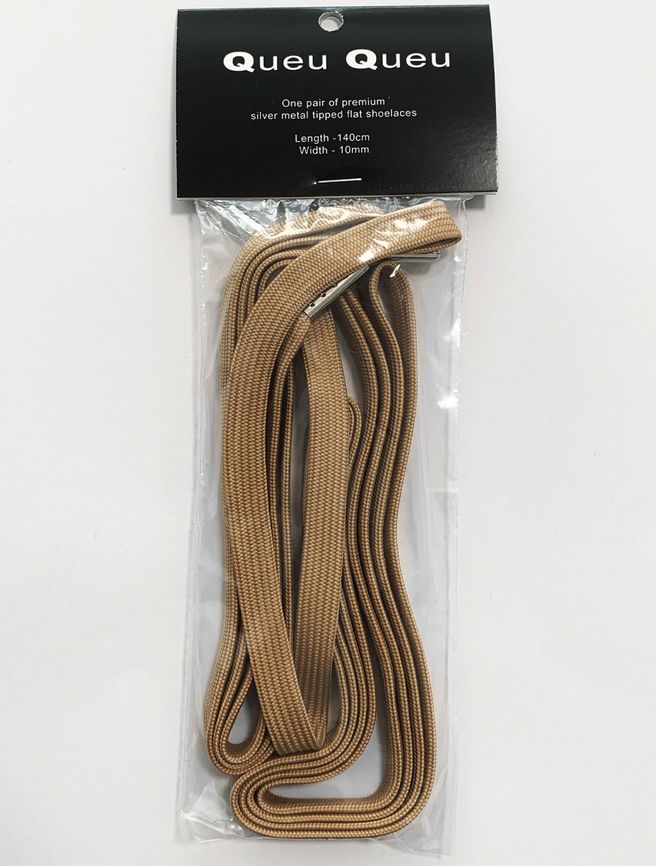 FLAT SHOELACES - BEIGE / SILVER TIP 3
