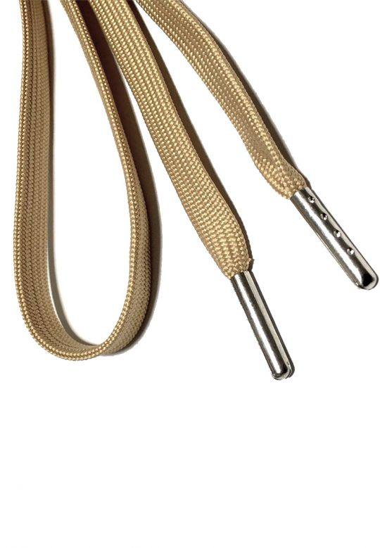 FLAT SHOELACES - BEIGE / SILVER TIP 2