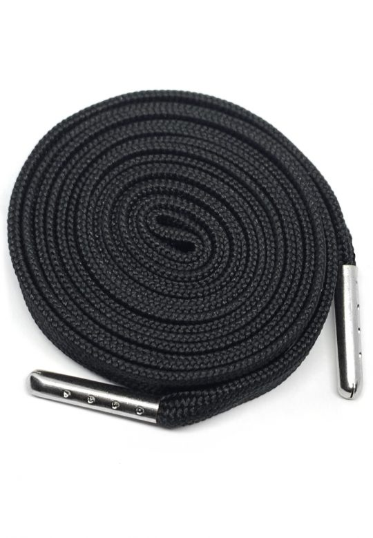 FLAT SHOELACES - BLACK / SILVER TIP 1