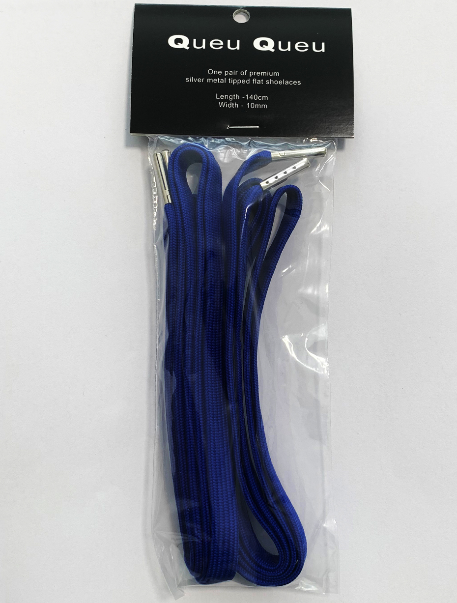 FLAT SHOELACES - ROYAL BLUE / SILVER TIP 3