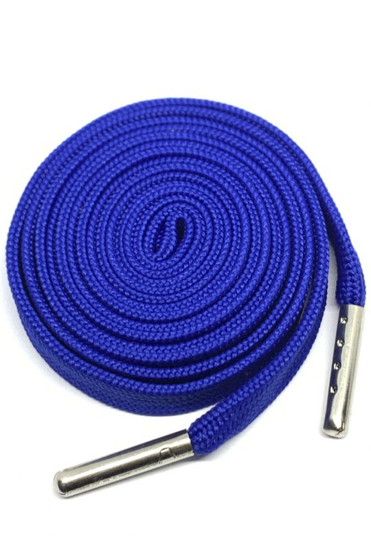 FLAT SHOELACES - ROYAL BLUE / SILVER TIP 1