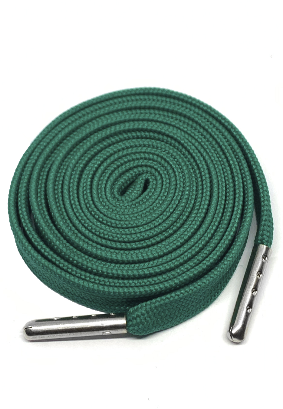 FLAT SHOELACES - EMERALD GREEN / SILVER TIP 1