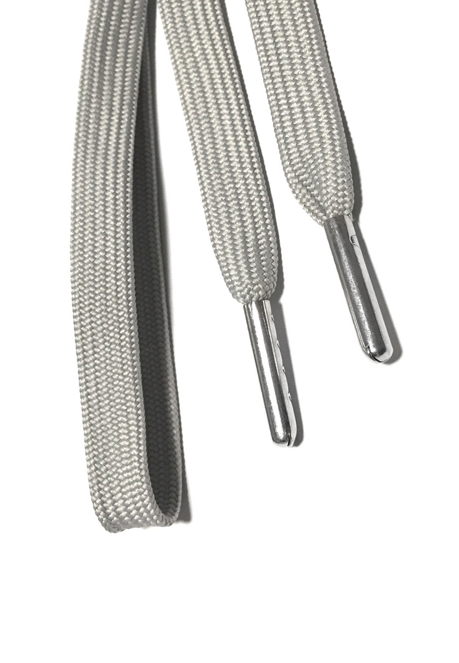 Flat metal tip shoelaces grey 2