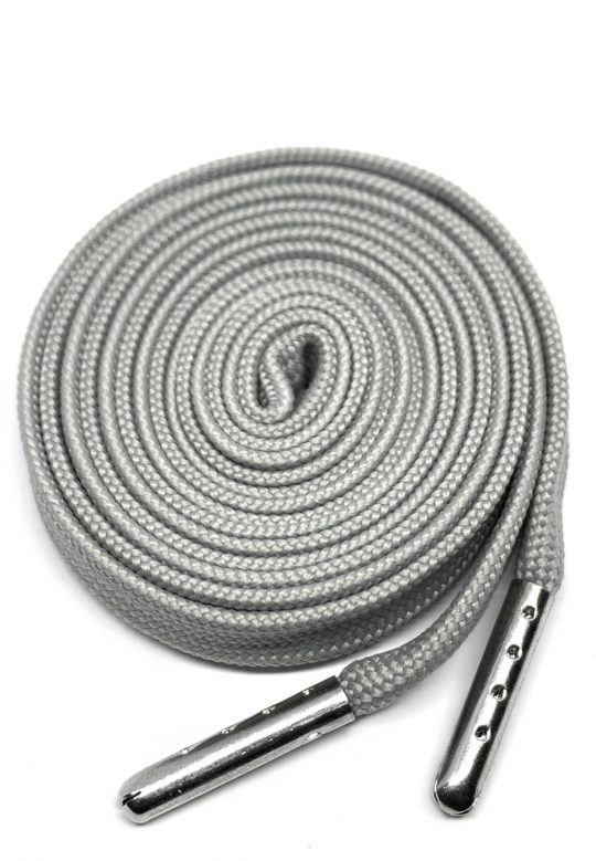 Flat metal tip shoelaces grey 1