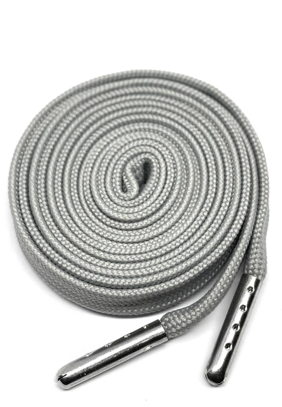 Flat metal tip shoelaces grey 1