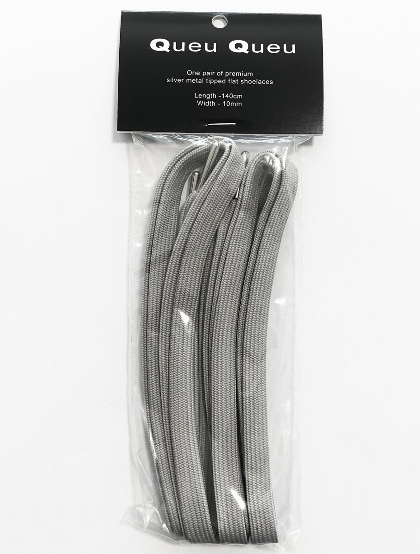 Flat metal tip shoelaces grey 3