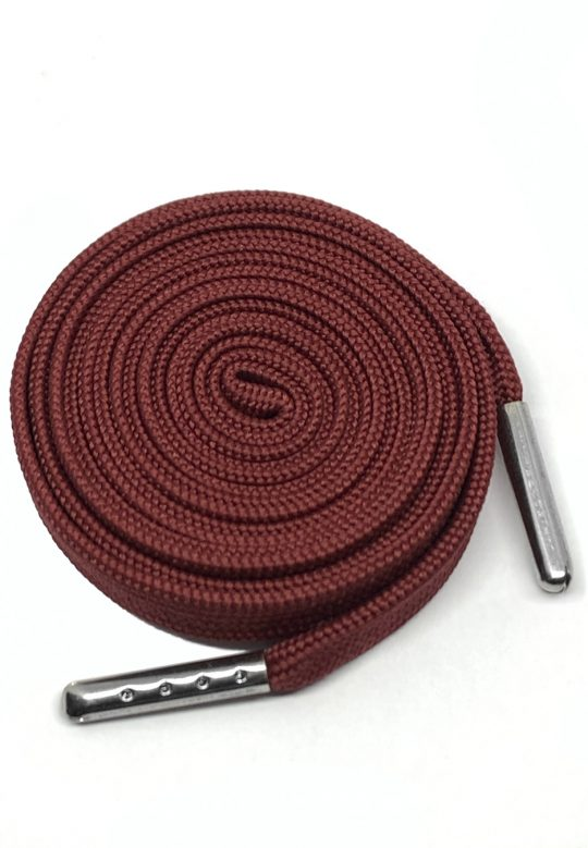 FLAT SHOESLACES - BURGUNDY / SILVER TIP 1