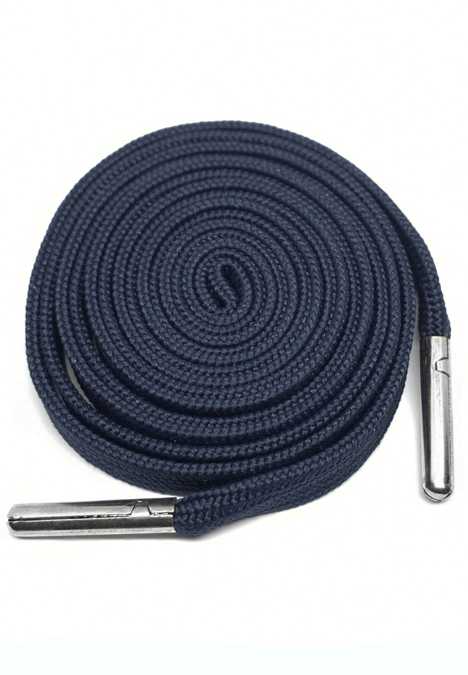 FLAT SHOELACES - NAVY / SILVER TIP 1