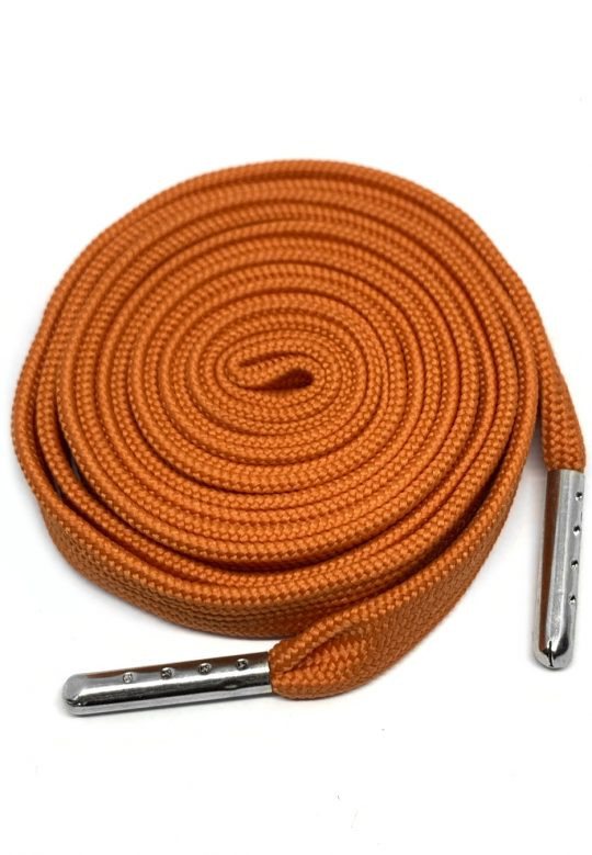 FLAT SHOELACES - ORANGE / SILVER TIP 1