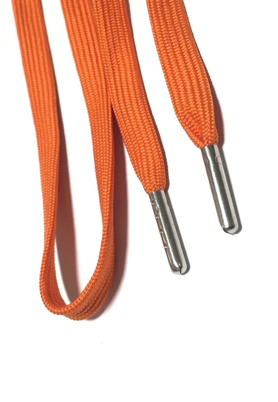 FLAT SHOELACES - ORANGE / SILVER TIP 2