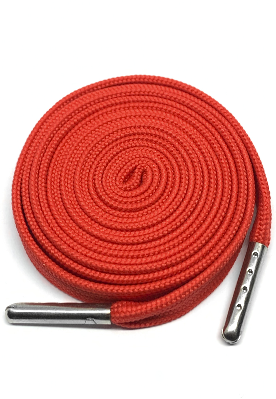 FLAT SHOELACES - RED / SILVER TIP 1