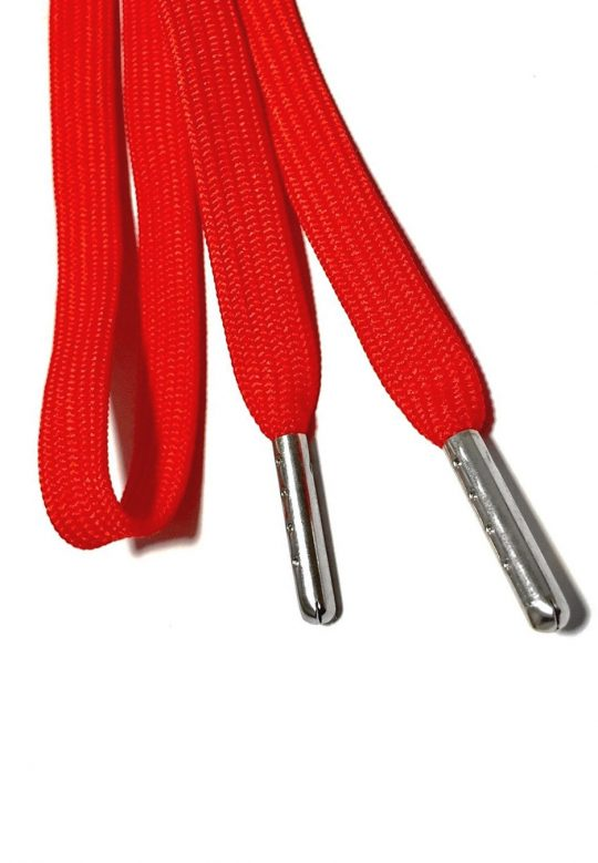 FLAT SHOELACES - RED / SILVER TIP 2