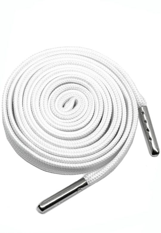 FLAT SHOELACES - WHITE / SILVER TIP 1